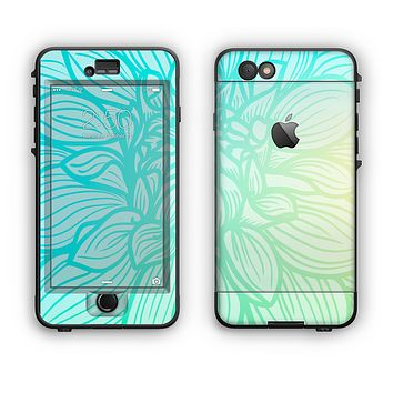 The Faded Blue & Green Subtle Floral Apple iPhone 6 LifeProof Nuud Case Skin Set