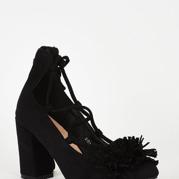 ae4d47317a91 Best Black Faux Suede Lace Up Heels Products on Wanelo