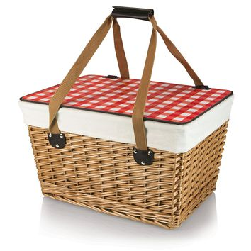 Picnic Time 'Canasta' Basket with Red Check Lid