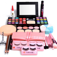 Makeup Gift Set Eyeshadow Eyeliner Eyelashes Brushes Foundation Lipgloss Blusher