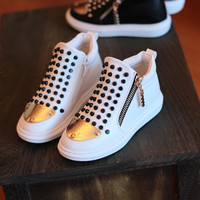 2015 children rivet shoes gold toe high quality kid sneakers white comfortable footwear little girl & boy's casual shoe