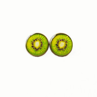 Kiwi Slice Stud Earrings - Fruit Slice Pop Culture Jewelry