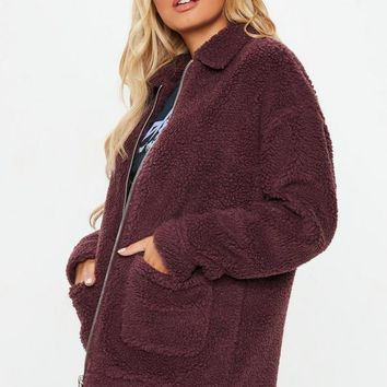 Missguided - Burgundy Oversized Borg Zip Through Jacket
