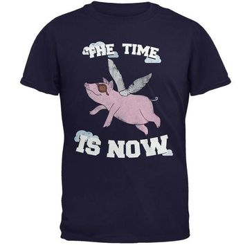 DCCKJY1 When Pigs Fly The Time Is Now Navy Adult T-Shirt