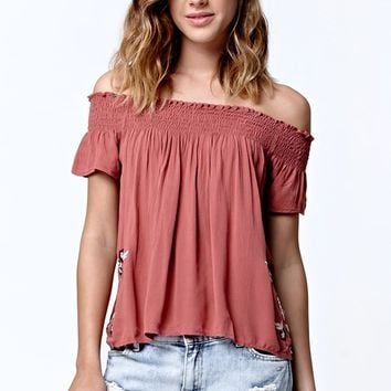 LA Hearts Embroidered Smocked Off-The-Shoulder Top - Womens Shirts