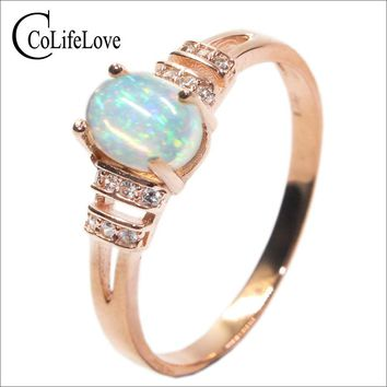 Dazzling opal ring 0.7 ct 5 mm * 7 mm natural opal gemstone ring solid 925 sterling silver opal ring romantic anniversary gift