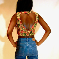Floral heart back crop top