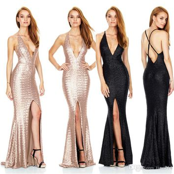 New Fashion black sexy dress deep V-neck dresses long lace perspective tight dress party dress BB010
