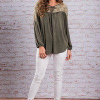 Carefully Coordinated Top, Olive