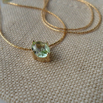 Chrysolite / 16k Gold Plated Brass Framed / Solitaire / Gold Necklace /  14K gold chain / Dainty  jewelry / Bridal