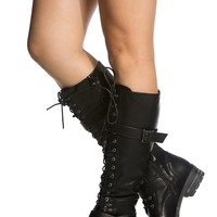Buckled Combat Lace Up Lug Sole Knee High Vegan Leather Chunky Heel Boots