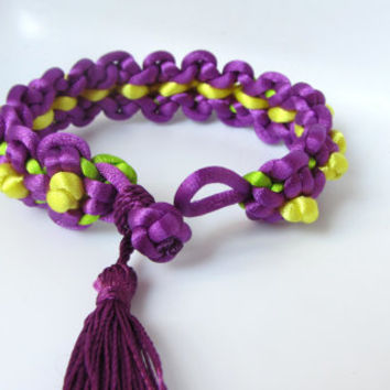 Purple Flower Bracelet Violet Tassel Bangle Jewelry Chinese Knotting Cord Boho Accessory Best Friend Birthday Gift for Her Paracord Bracelet