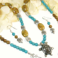 Turtle Necklace Earrings, Turtle Jewelry Set, Nature Inspired Southwest Jewelry, Unique Handmade Bohemian Jewelry, Turquoise Blue, Jasper