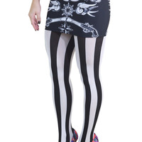 Gothic Lolita Black and White Vertical Striped Tights