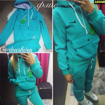 Winter Hats With Pocket Casual Hoodies Pants Set [7832934407]