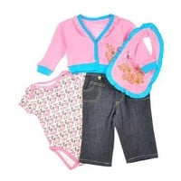 "Akademiks ""Vintage Floral"" 4-Piece Denim Set (Sizes 0M - 9M) $9.99"