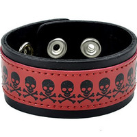 Skull and Crossbones Red Leather Wristband Bracelet