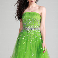 A-line Strapless Tulle Short/Mini Green Rhinestone Homecoming Dress at dressestore.co.uk