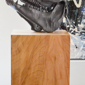 Horse With No Name- an original abstract horse skull sculpture by FQ Studios, animal skull, black skull, natural wood stand, horse art