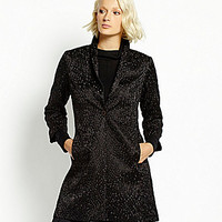 Eileen Fisher Embroidered Dot Silk Coat - Black