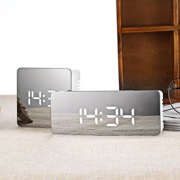 Hot Multifunction Noiseless LED Mirror Alarm Clock Digital Clock Snooze Display Time Night LED Light Table Desktop Alarm Clock