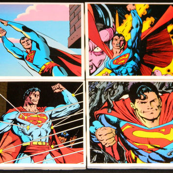 Superman Coasters  Set of 4 by WithOurPowers on Etsy