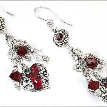 Red Heart Earrings, Valentines Earrings, Love Earrings, Red Crystal Earrings, January Birthstone Earrings, Dangle Earrings