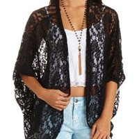 Oversized Lace Cocoon Cardigan by Charlotte Russe - Black