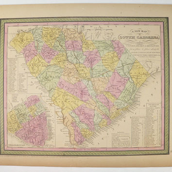 Original 1852 South Carolina Map 1852 Mitchell Cowperthwait Map South Carolina, Gift for Parents, SC Map 1st Anniversary Gift for Couple