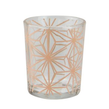 Basic Luxury Peach Melba Stars Glass Tea Light Candle Holder 2.5""