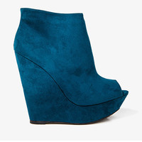 Peep Toe Wedge Booties