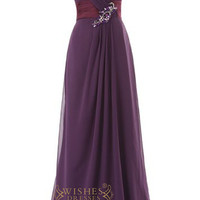A-line Sweetheart Grape Chiffon Long Prom Dresses With Beaded Detail Embellishment Am10
