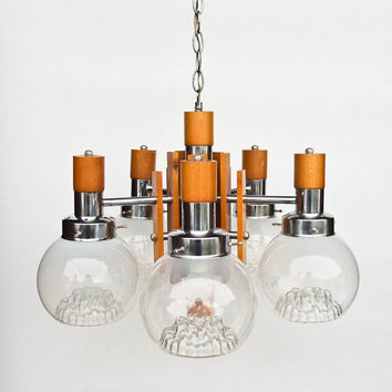 Mid Century Modern Ceiling Lamp / Five  Arm Chandelier /  Pendant Light / Wood, Chrome &  Murano Art Glass
