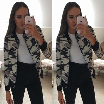 Women's Fashion Winter Long Sleeve Camouflage Round-neck Zippers Jacket [9618464079]