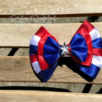 Disney Marvel Inspired Captain America Superhero Hair Bow