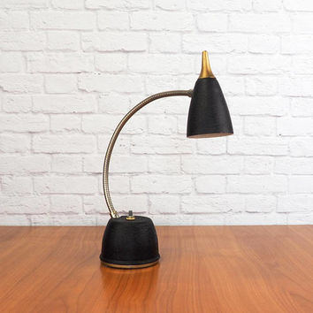 Vintage Mid Century Hi-Lite Gooseneck Desk Lamp by Eagle, Black and Gold Task Light