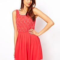 Lipsy Scallop Beaded Bodice Dress at asos.com