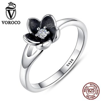 VOROCO Infinity Forever Love Anniversary Promise Ring Pure 925 Sterling Silver Flower Jewelry For Women Gift Ba Moer