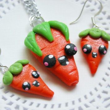Polymer Clay Kawaii Jewelry Set Polymer Kawaii Carrots Necklace Set Earrings And Necklace for Tweens, Teens and Adults