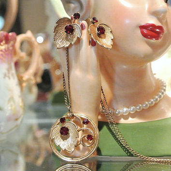 1940s Van Dell Garnet Necklace Earrings Demi Parure Garnet Rhinestones 1/20 12K GF Gold Filled Set Leaf and Swirl Design High Fashion Set