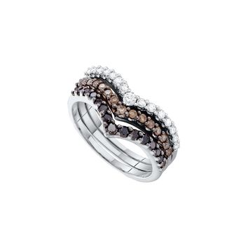 14kt White Gold Womens Round Black Colored Diamond Chevron Stackable 3-piece Band Ring 1.00 Cttw