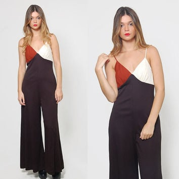 Vintage 70s Jumpsuit COLOR BLOCK Jumpsuit Sleeveless Bell Bottom Pantsuit Vintage Black Romper