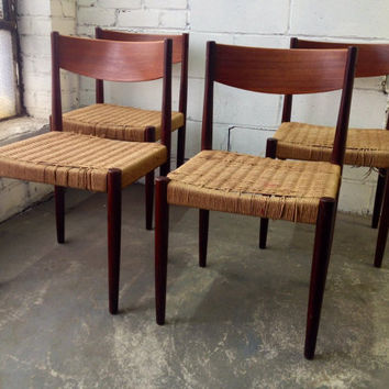 Set of four Danish mod Poul Volther teak chairs