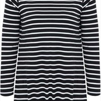 Black & Ecru Stripe Long Sleeved T-shirt With Drawcord Detail plus size 16,18,20,22,24,26,28,30,32