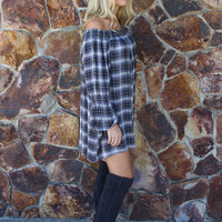 Plaid Blue Off the Shoulder Dress