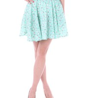 HDE Women's Spring Floral Print Stretch Waist Pleated A-Line Circle Skater Skirt