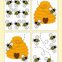 Honey Bumble Bee Hive Wall Art Decals Baby Nursery Decor [266] - $12.99 : DeCamp Studios, The best selection of nursery wall murals, childrens wallpaper border, teen girl or boy wall art decals, baby premade scrapbook pages, and digital printable clip art.