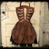 Rib Cage Apron Embossed Velveteen Goth Halloween Costume Party  S-L from Poppy's Garden Gate