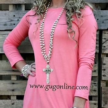Piko Tunic Top in Salmon
