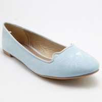 Qupid Salya-637 Embroidered Kitty Cat Loafer Flat LIGHT BLUE (6)